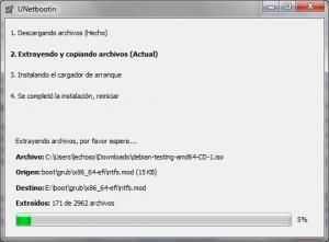 UNetbootin Debian progress