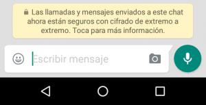 Mensaje de comunicación encriptada mostrado por Whatsapp.