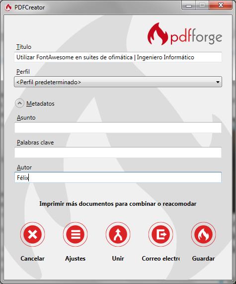 Envío de documento a la impresor de PDF Creator