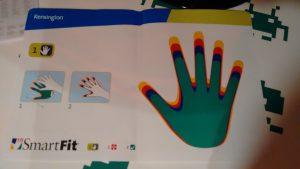 Plantilla SmartFit sobre la cual se superpone la mano del usuario para obtener el color que se corresponde con la configuración óptima.