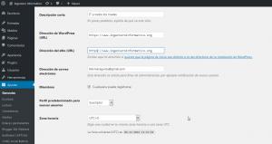La dirección del sitio debe actualizarse en WordPress para que el CMS pueda manejar internamente las referencias a las distintas páginas y entradas.