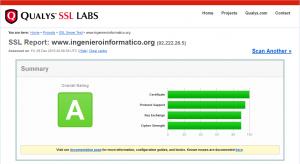 Verificación SSL del otro dominio www.ingenieroinformatico.org utilizando la herramienta online de QUALYS SSL LABS.