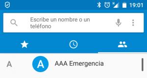 Configuración tradicional de contactos de emergencia. Actualmente sólo es útil si el teléfono carece de protección de desbloqueo, lo cual también es inseguro.
