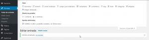 Un desplegable superior en la pantalla de edición de la entrada oculta la opción que permite mostrar las opciones relativas a los comentarios de la entrada.