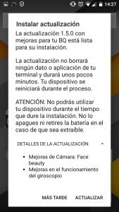 Captura de pantalla de instalación de actualización.
