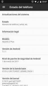 Captura de pantalla con versión 7.1.1 de Android.