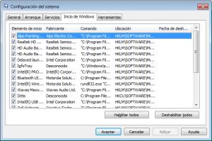 Cuadro de Configuración del sistema de Windows 7