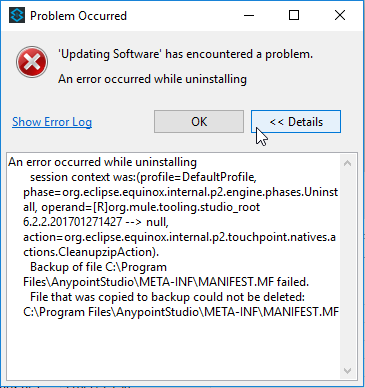 Anypoint Studio dialog: Problem occurred while uninstalling.