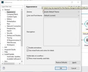 En preferencias se selecciona la nueva apariencia y se muestra una advertencia de que puede ser necesario reiniciar el IDE.