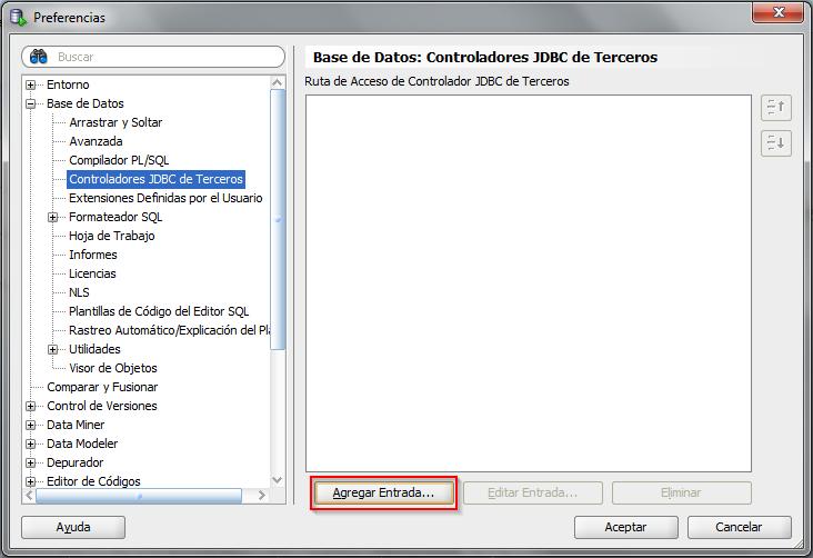 Vista de como agregar una nueva entrada de Controladores JDBC de Terceros en SQL Developer.