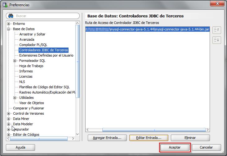 Nueva entrada de Controladores JDBC de Terceros añadida en SQL Developer.