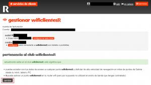 Vista de la página de gestión de wificlientesR con usuario autenticado.